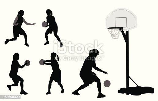 Basketball Practice Vector Silhouette