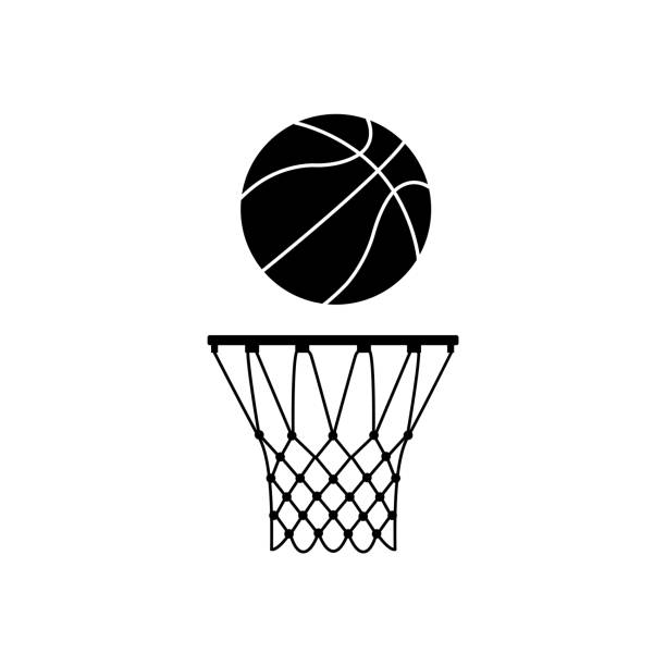 Basketball ring icon, silhouette on white background Basketball ring icon, silhouette on white background basketball hoop stock illustrations