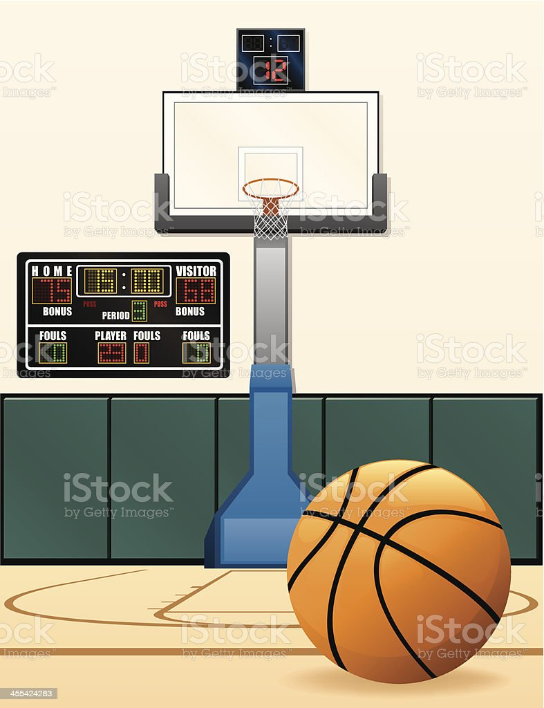 Basketball Scoreboard and Hoop vector art illustration