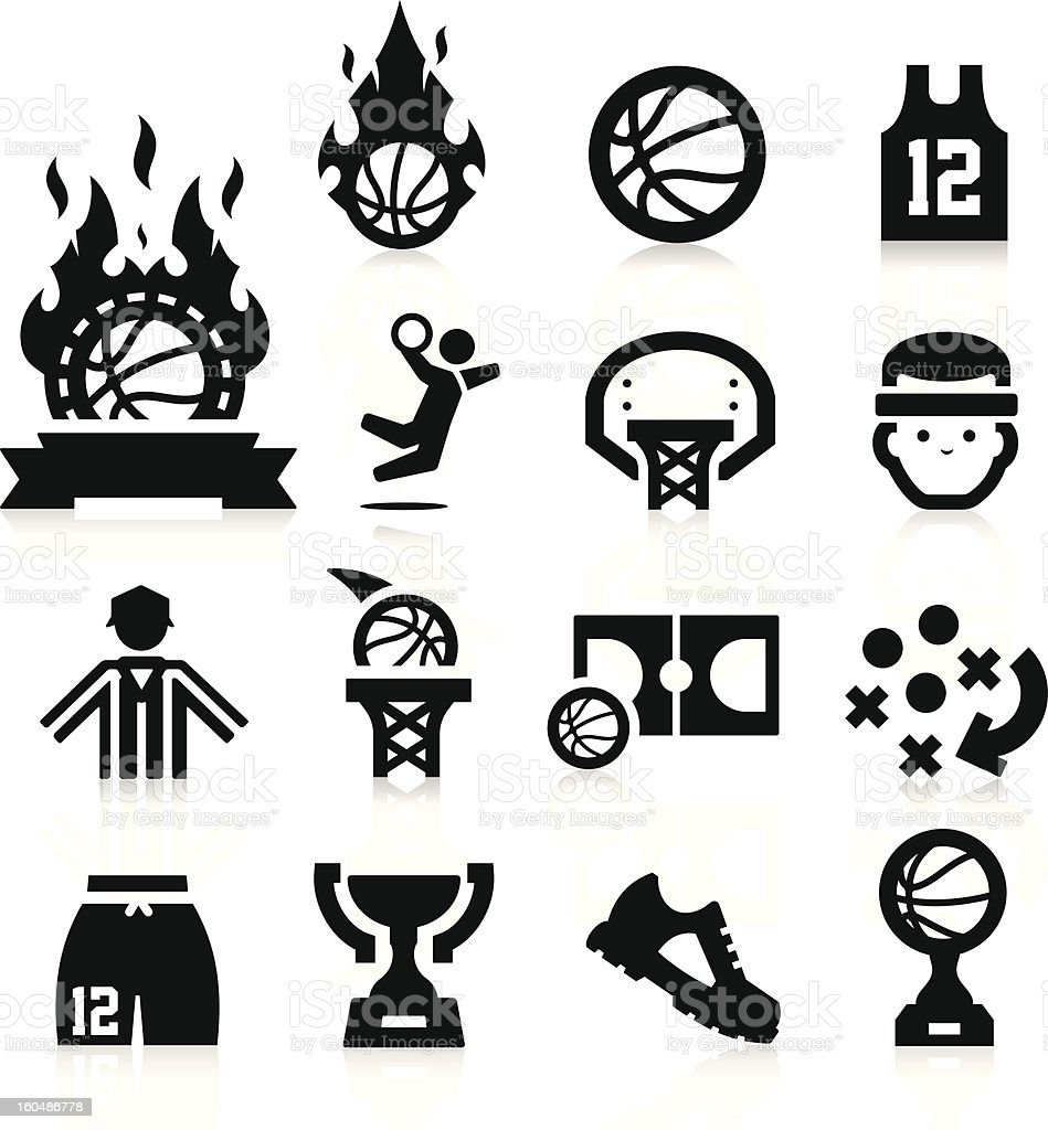 Basketball set of vector icons vector art illustration