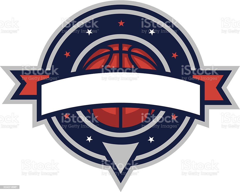 Basketball Shield vector art illustration