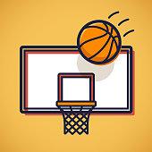 Basketball shooting scoring shot backboard.