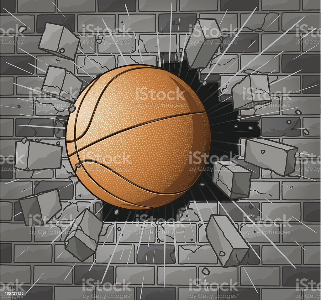 Basketball Smashing Through Brick Wall royalty-free stock vector art