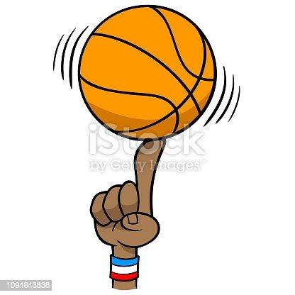 A vector cartoon illustration of a Basketball Spinning on Finger.