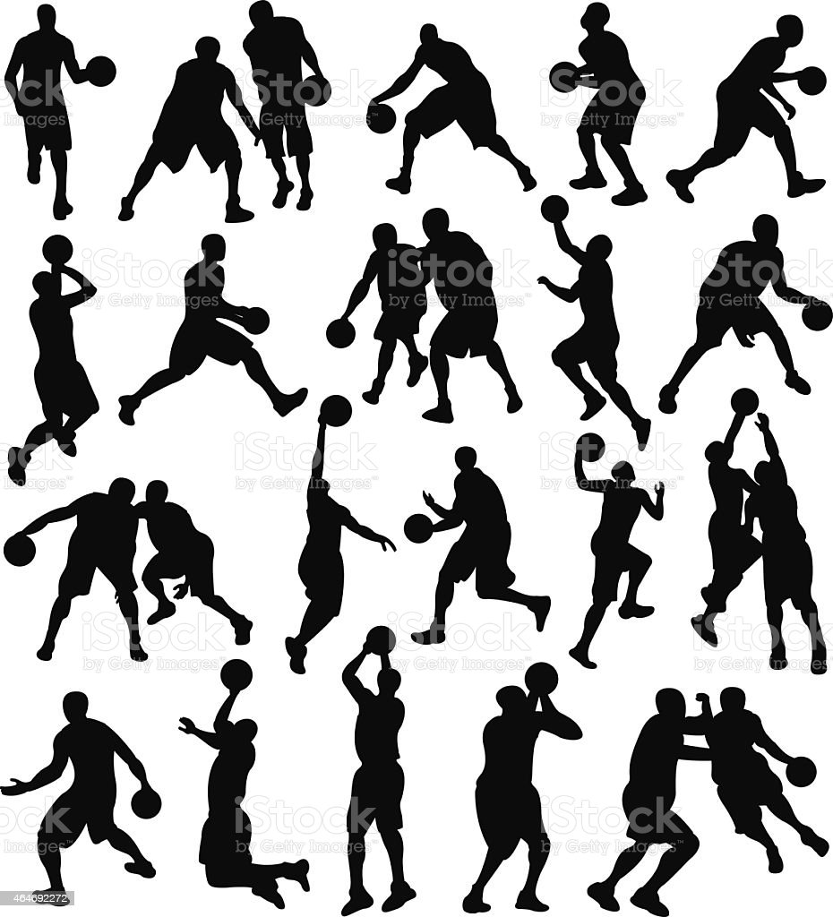 Basketball, Sport, Athlete, Silhouette vector art illustration