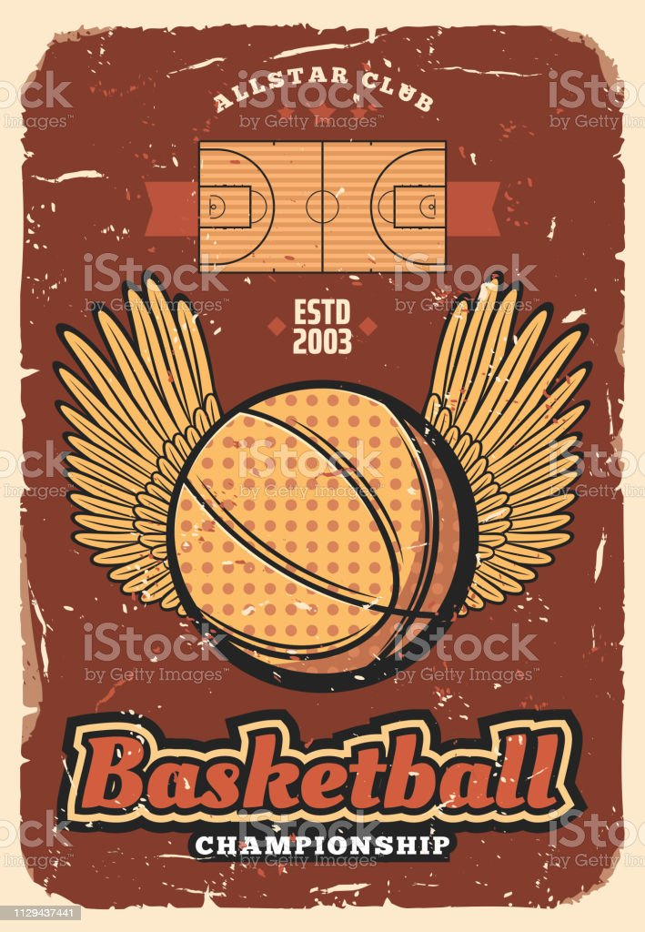 Basketball retro poster of ball with winner wings on sport court....