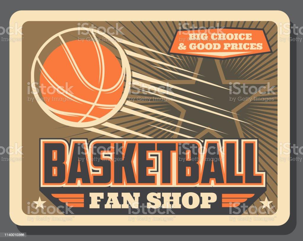 Basketball sport balls shop vintage poster. Vector basketball fan...