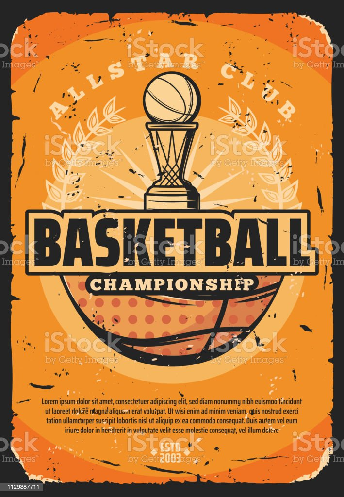 Basketball sport retro poster with basket and heavy ball. Vector...