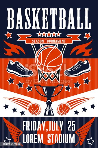 Basketball sport tournament, team game match poster. Basket, orange ball, sport shoes and trophy or winner cup announcement, college league competition or championship vector design