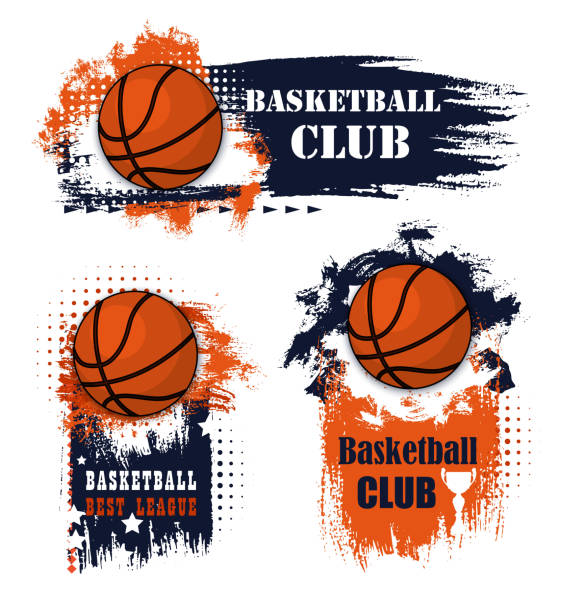 Basketball sport grunge symbols with ball Basketball sport icons with balls and champion trophy cup. Basketball game competition with grunge elements and sporting items, adorned by star, orange and blue paint brush strokes basketball stock illustrations