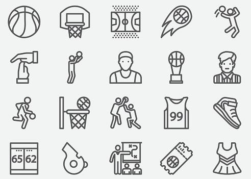 Basketball Sport Line Icons