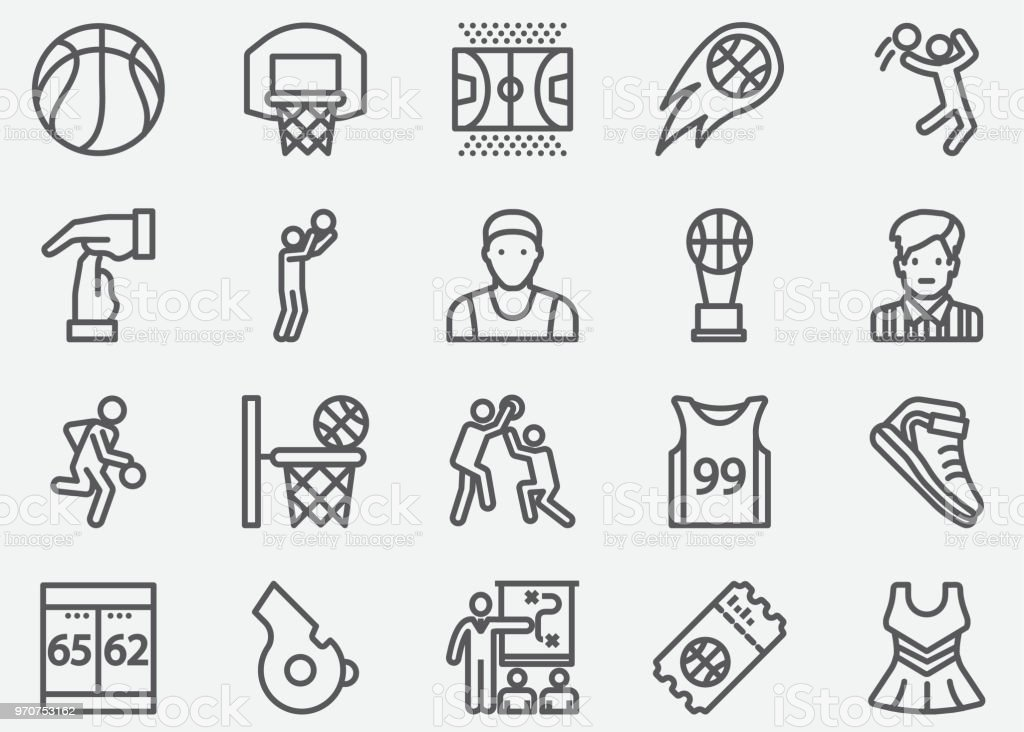 Basketball Sport Line Icons vector art illustration