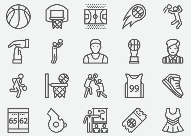 ilustraciones, imágenes clip art, dibujos animados e iconos de stock de iconos de línea de deporte de baloncesto - basketball hoop