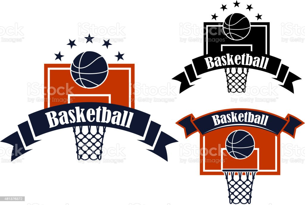 Basketball Sporting Symbols With Sport Items Stock Vector Art More
