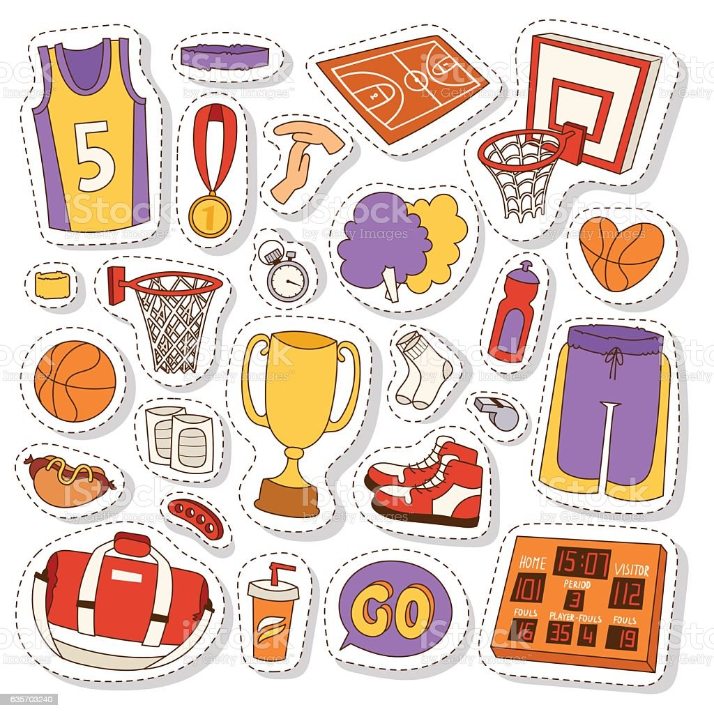 Basketball stickers icons vector. royalty-free basketball stickers icons vector stock vector art & more images of athlete