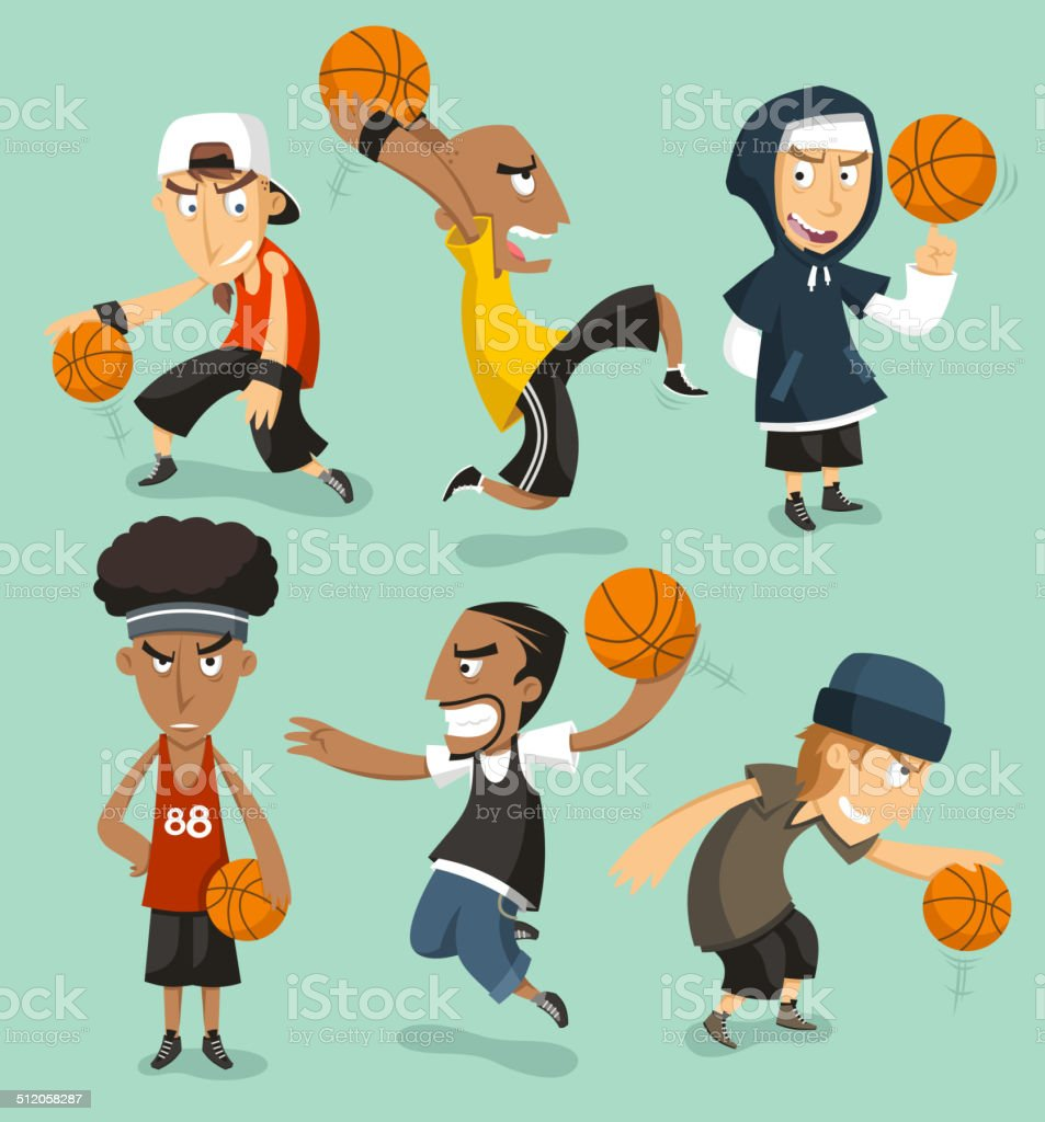 Basketball street game vector art illustration