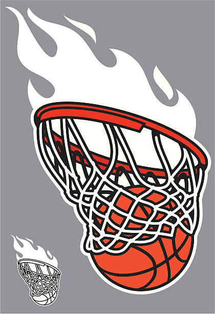 basketball swoosh This version of the basketball swoosh, comes in color and black and white for easy design. The flame is separate from the hoop and ball outline. basketball hoop stock illustrations
