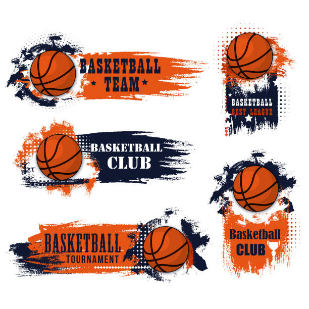Basketball team club vector ball icons Basketball club icons for college league championship or university players tournament match. Vector symbols of basketball ball for goal with stars and cup on grunge orange basketball stock illustrations