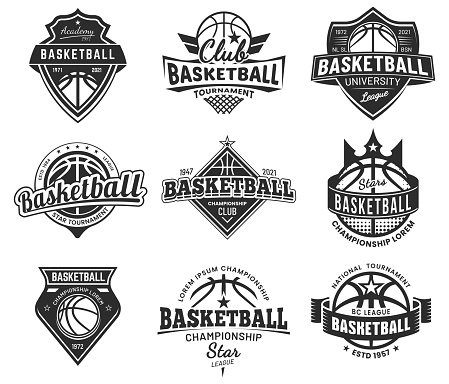 Basketball team labels, set of sport league badges