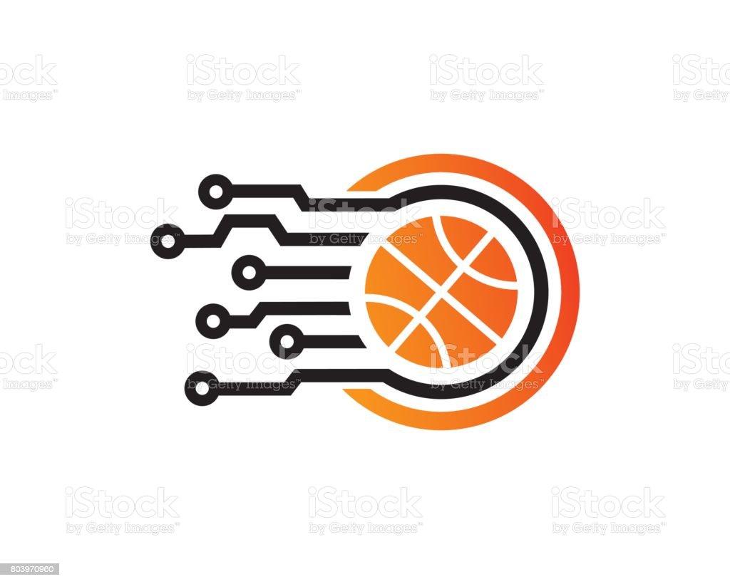 Basketball Tech Symbol Template Design Vector, Emblem, Design Concept, Creative Symbol, Icon