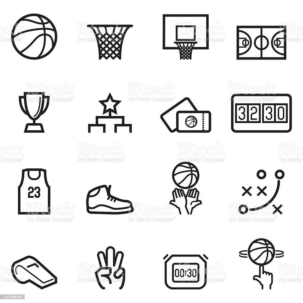 Baloncesto iconos de línea fina - ilustración de arte vectorial