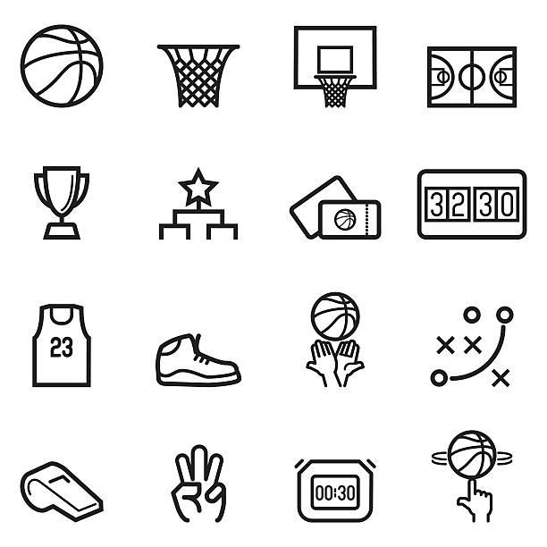 ilustraciones, imágenes clip art, dibujos animados e iconos de stock de baloncesto iconos de línea fina - basketball hoop