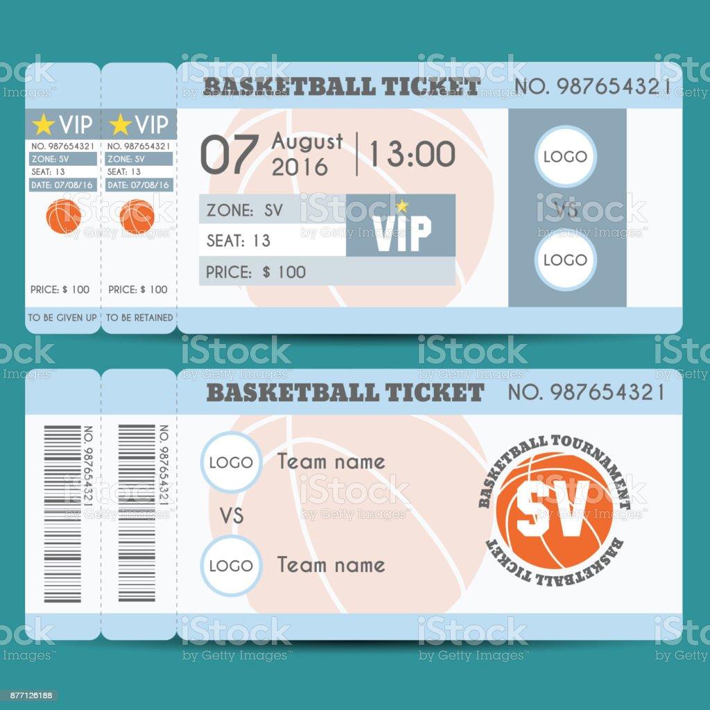 Basketball Ticket Modern Design vector art illustration