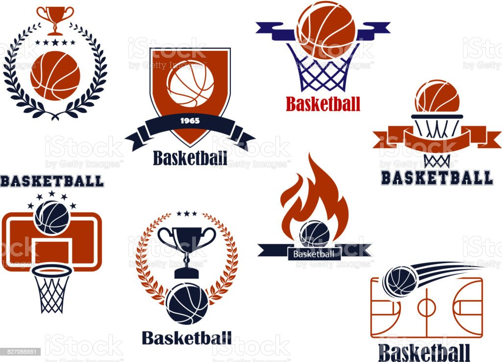 Basketball tournament and emblem designs vector art illustration