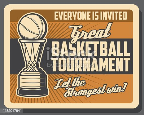 Basketball sport game, basket and ball, retro vector. Sporting tournament, team game league. Championship and competition, activity and hobby, invitation on match, sport event announcement