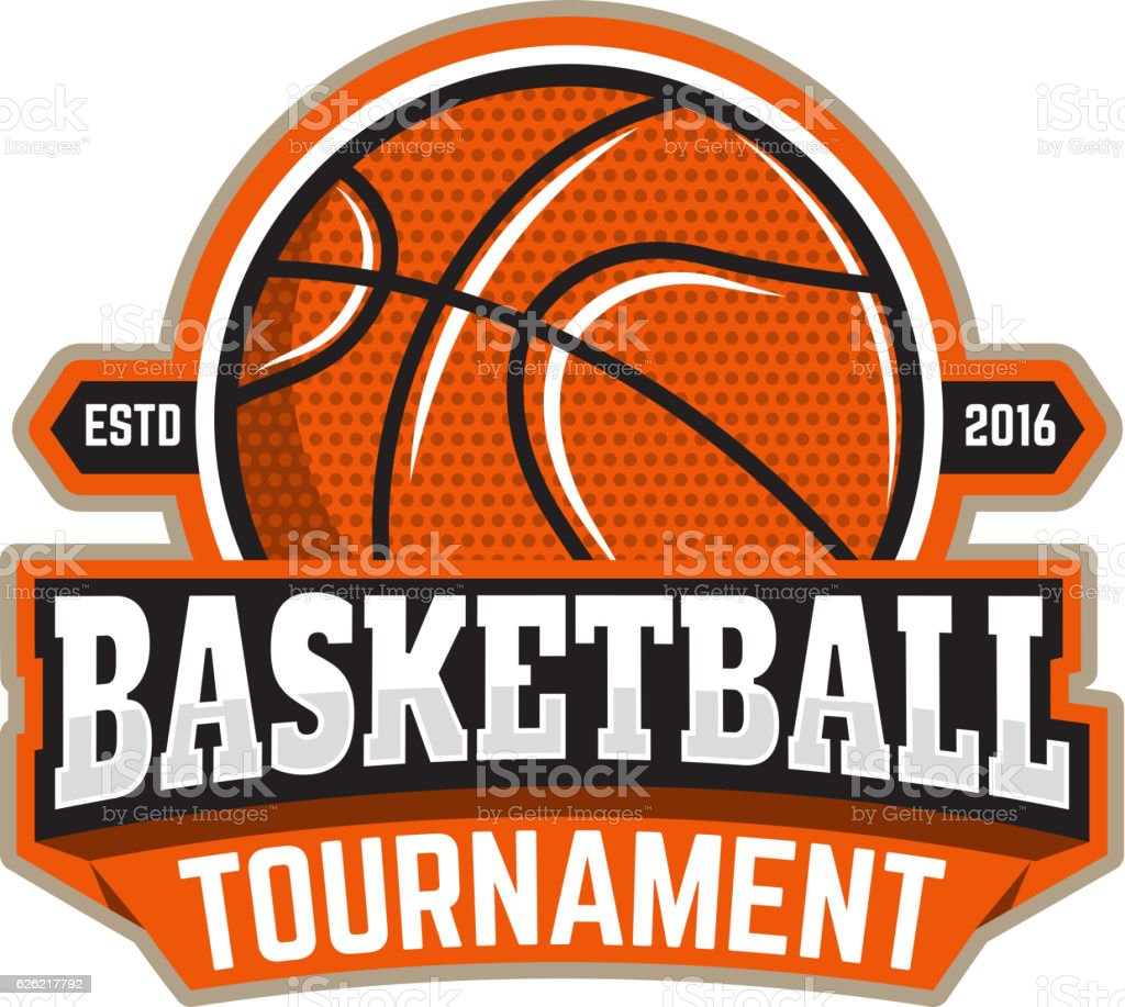 Basketball tournament. Emblem template with basketball ball. - Illustration vectorielle