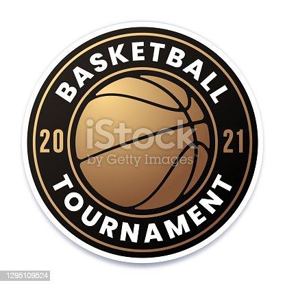 istock Basketball Tournament Gold Badge 1295109524