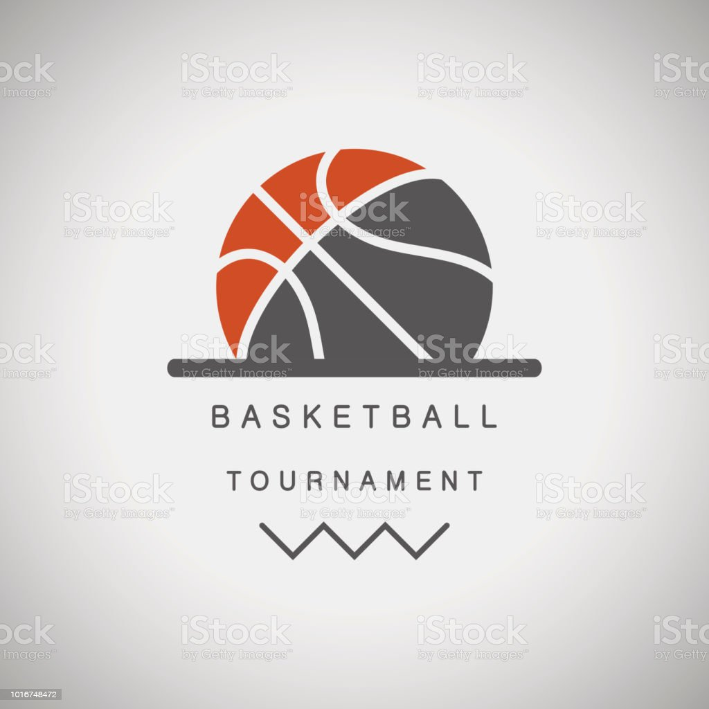 Basketball tournament logo vector art illustration