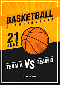 Basketball tournament, modern sports posters design. Vector illustration. Basketbal sport flyer design template.