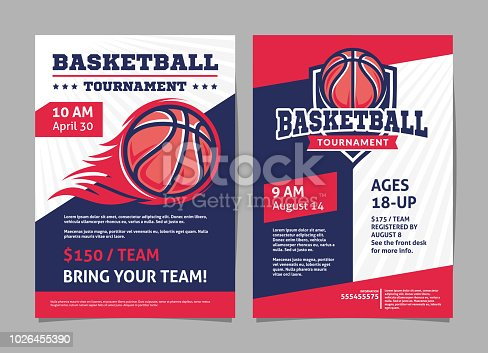istock Basketball tournament posters, flyer with basketball ball - template vector design 1026455390