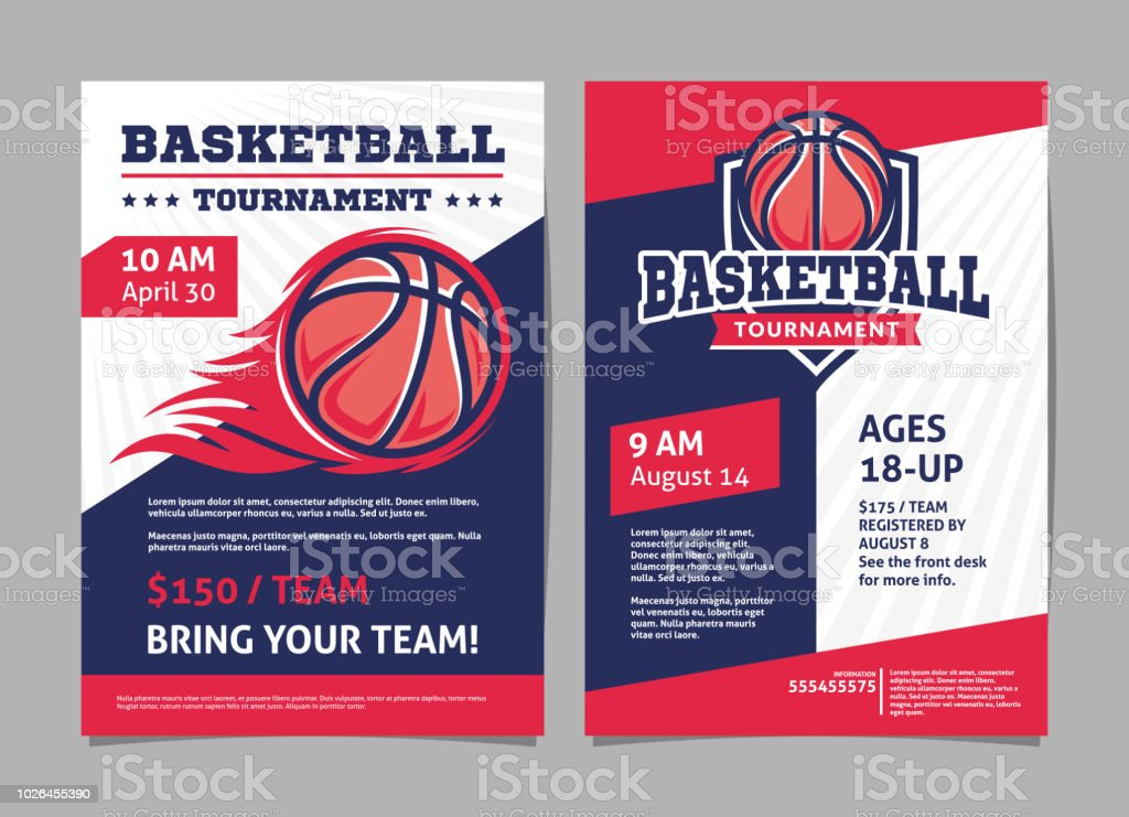 Basketball-Turnier Plakate, Flyer mit Basketball Ball - Vorlage-Vektor-design – Vektorgrafik