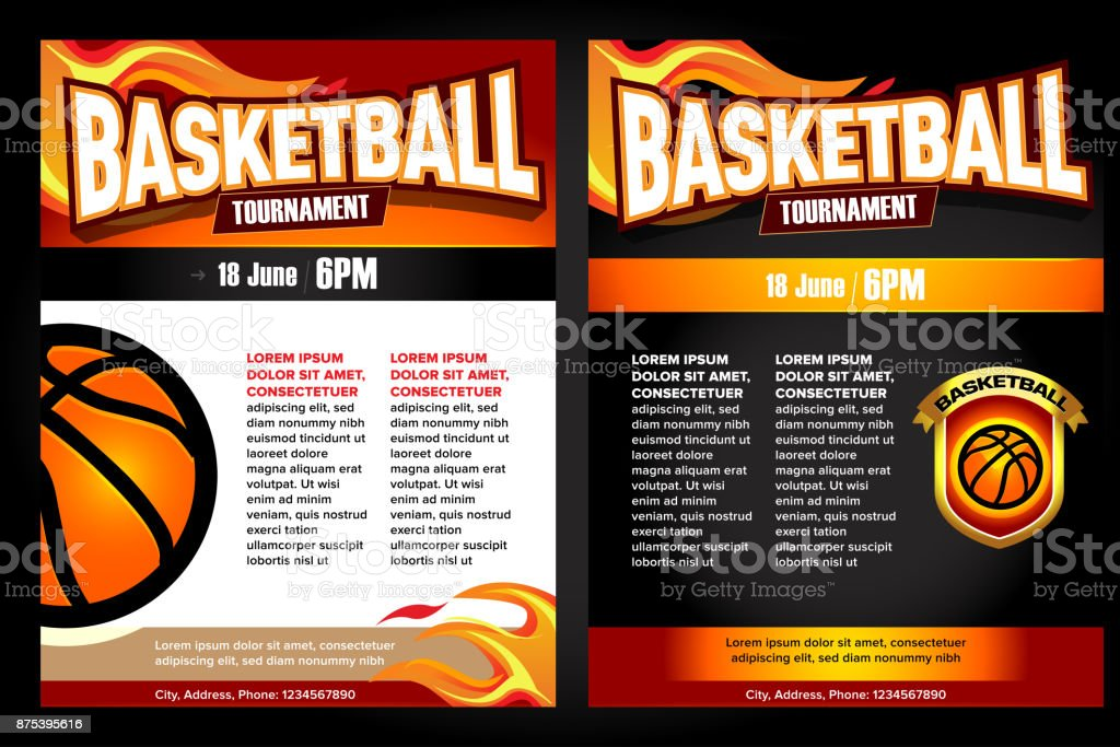 Basketball Tournament Posters Flyer With Basketball Ball Template