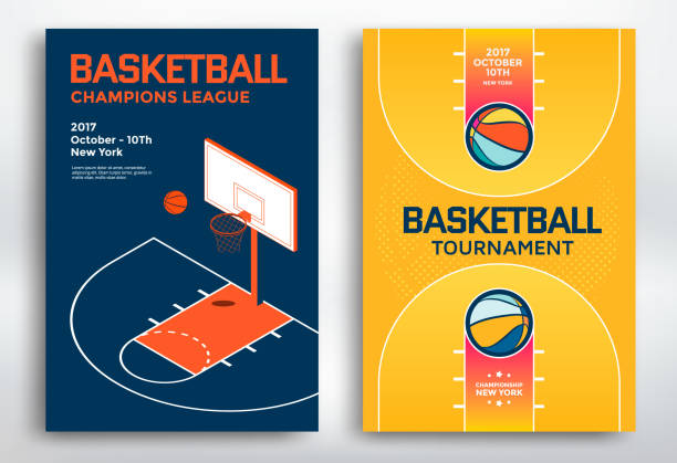 Basketball tournament posters Basketball tournament sports posters design. Isometric basketball backboard and court. Vector illustration. basketball hoop stock illustrations