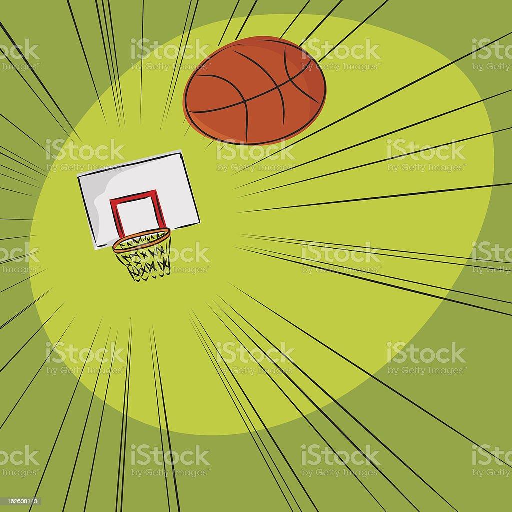 Basketball Toward The Net royalty-free stock vector art