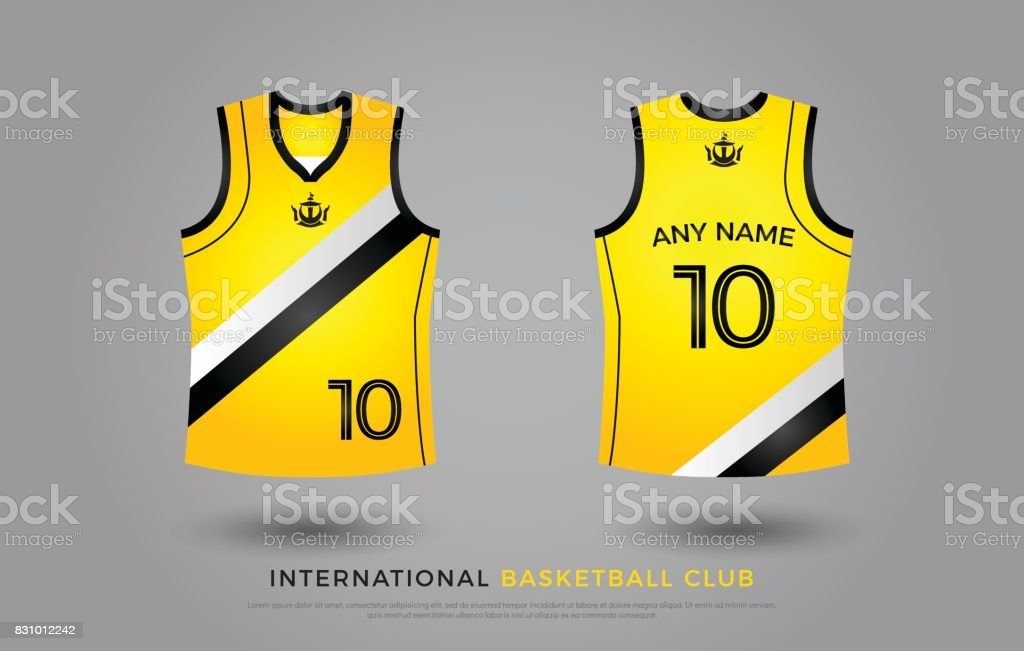 7558b3ea8 Basketball t-shirt design uniform set of kit. basketball jersey template.  black and yellow color