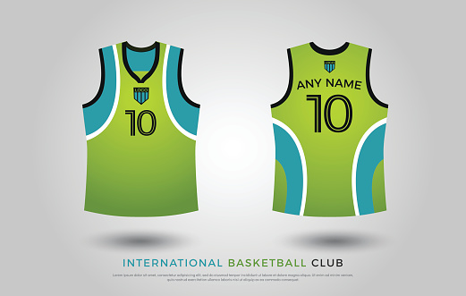 basketball t-shirt design uniform set of  kit. basketball jersey template. green and blue color, front and back view shirt mock up. basketball or volleyball club vector illustration