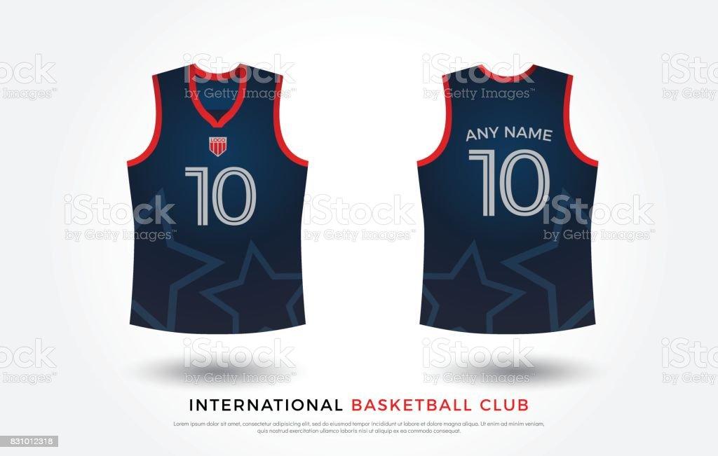 Basketball T Shirt Design Uniform Set Of Kit Jersey Template Navy