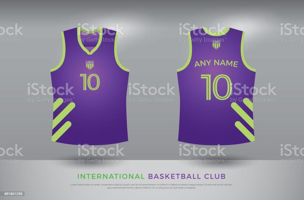 885b636b1 Basketball t-shirt design uniform set of kit. basketball jersey template. purple  and green color
