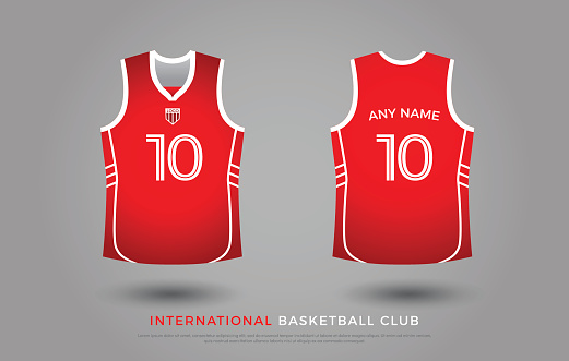 ee24d43b3 Basketball Tshirt Design Uniform Set Of Kit Basketball Jersey Template Red  And White Color Front And Back View Shirt Mock Up Vector Illustration Stock  ...