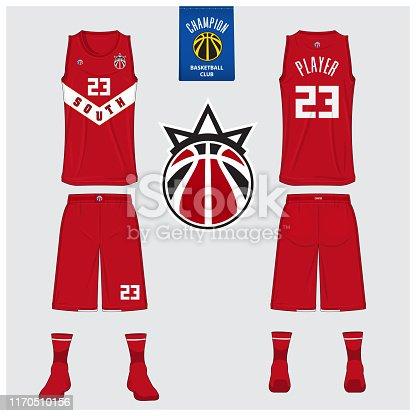 Basketball uniform mockup template design for basketball club. Tank top t-shirt mockup for basketball jersey. Front view, back view basketball shirt. Flat sport  design. Vector Illustration.