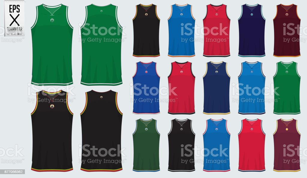 Basketball uniform template design. Tank top t-shirt mockup for basketball club. Front view and back view sport jersey. Vector vector art illustration