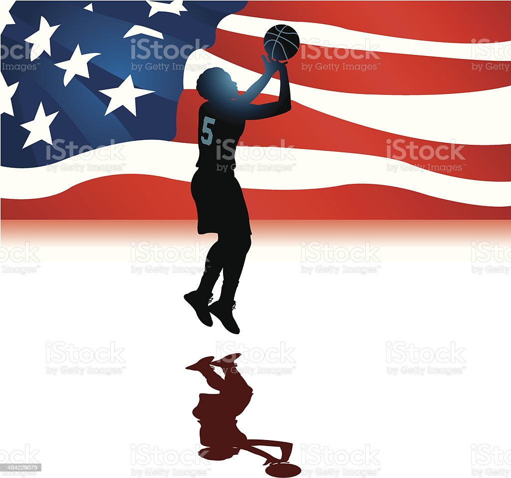 Basketball USA All-Star Background - Girls vector art illustration