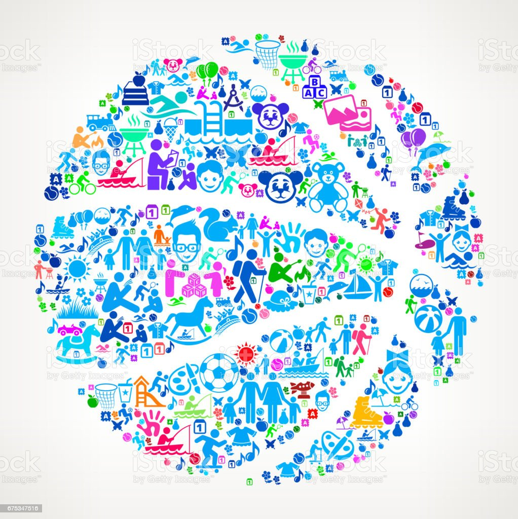 Basketball  Vacation and Summer Fun Icons Background vector art illustration
