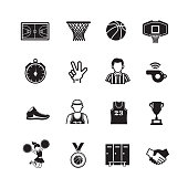 Basketball icon, Set of 16 editable filled, Simple clearly defined shapes in one color.