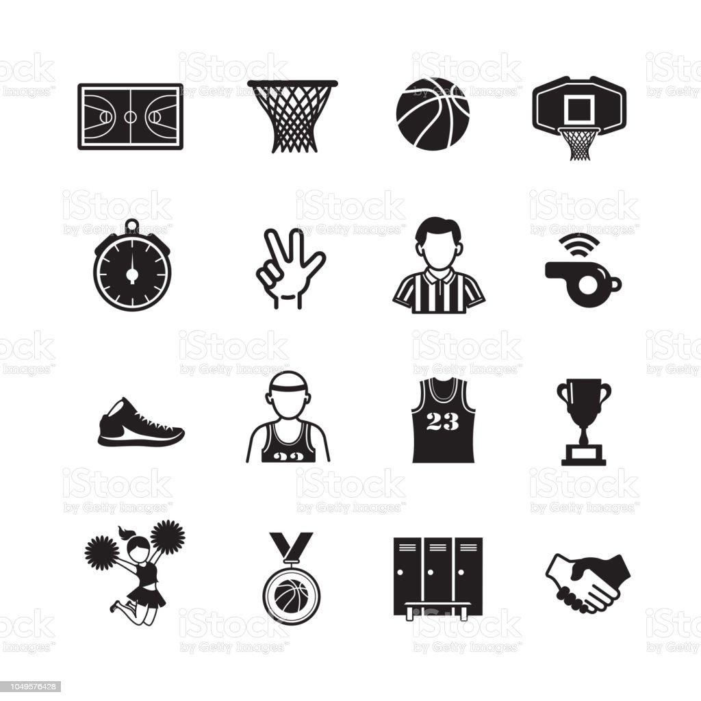 Basketball vector icon set vector art illustration
