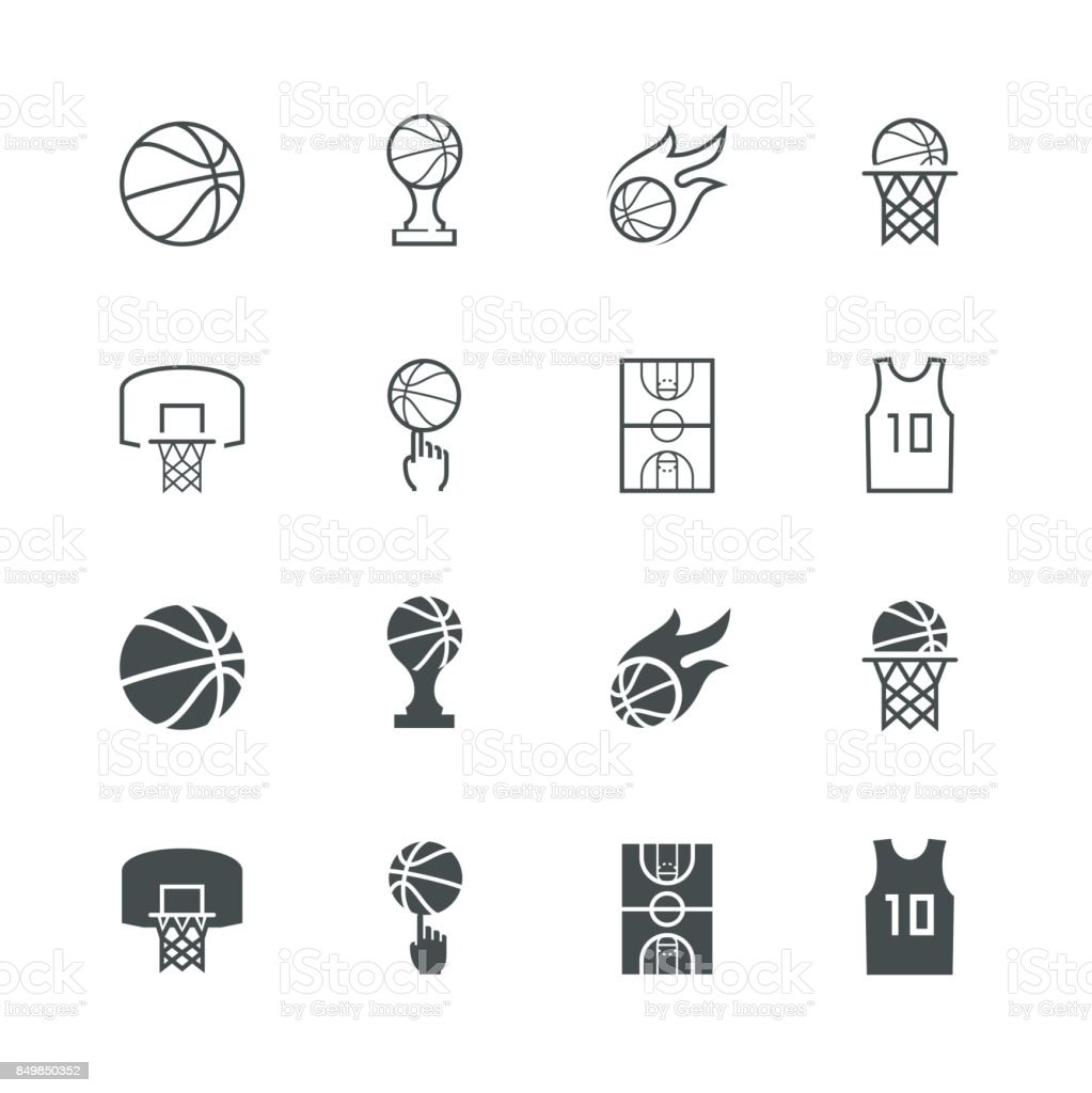 Basketball vector icon set royalty-free basketball vector icon set stock illustration - download image now